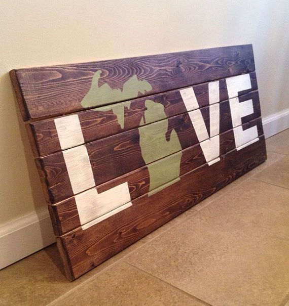 LOVE Wood Wall Art With Michigan Image by MittenMadeDesigns