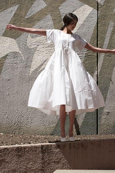 All white fluffed dress.