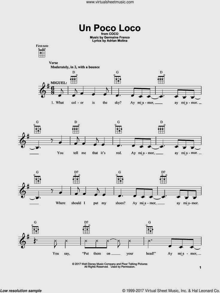 Molina Un Poco Loco From Coco Sheet Music For Ukulele Pdf