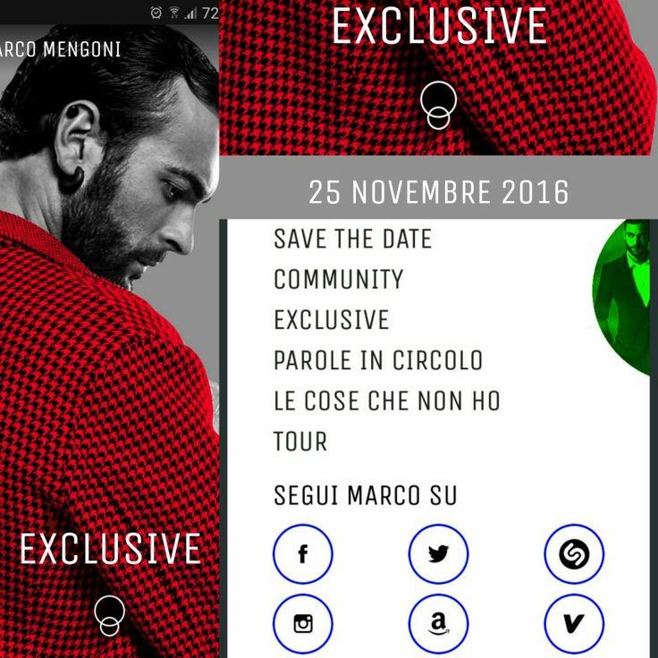 Con il nuovo progetto #MarcoMengonilive, il 25 novembre arriva la nuova versione della #AppMarcoMengoni  Sezione EXCLUSIVE