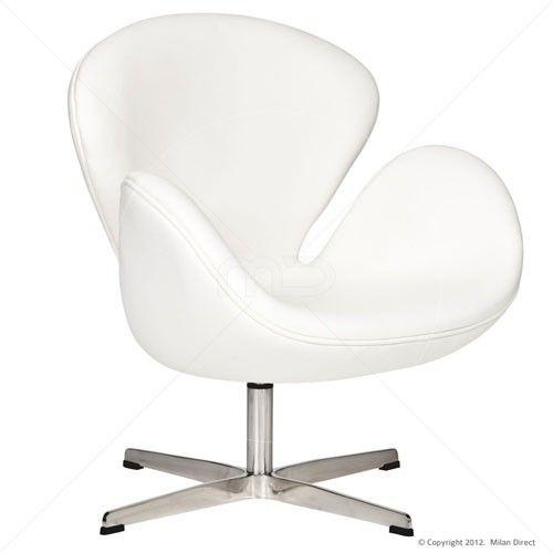 Swan Chair - Premium Leather - White - Replica