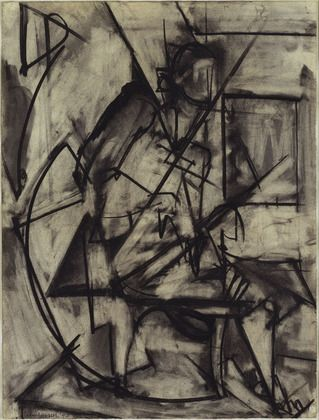 Seated Nude - Krasner Lee 1940  Krasner created Seated Nude right around the time she began to associate with the American Abstract artists, where she met her husband, Jackson Pollock. Showing remnants of Cubism, this charcoal shows Krasner experimenting with abstraction in a fashion both raw and evocative.