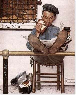 lunch time at the zoo/Artist: Unknown. I think, however, this looks like Norman Rockwell's work