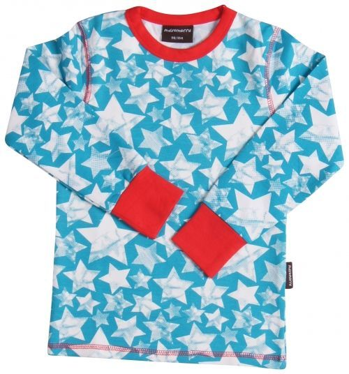 Maxomorra Shirt Lange mouw Stars Turq