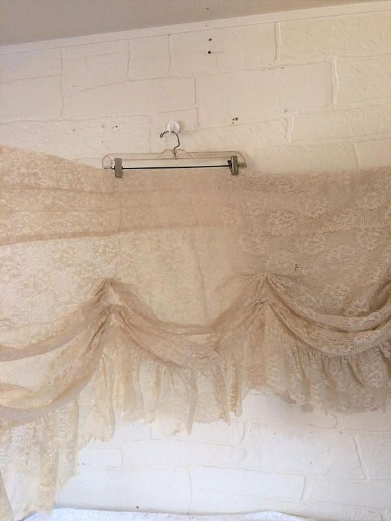 Vintage Lace Valance Curtain Lace Swag Curtain Shabby Chic Valance #etsy