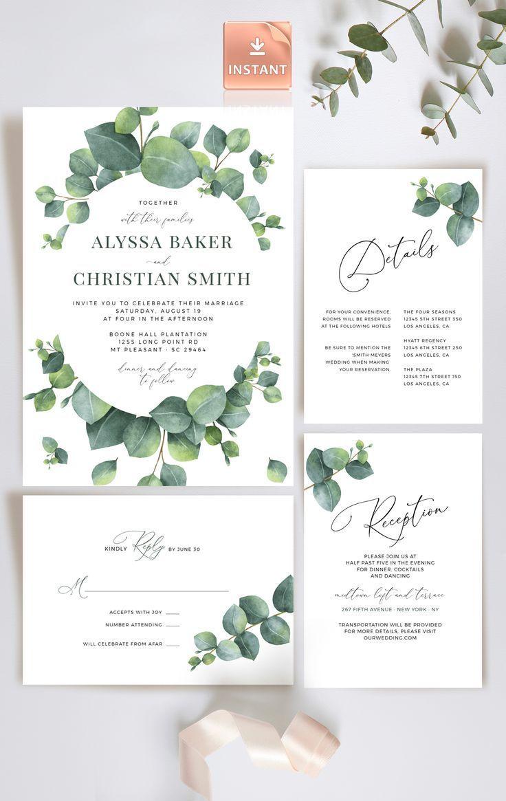 Pale Green Eucalyptus Wedding Invitation Modern Invite  Etsy
