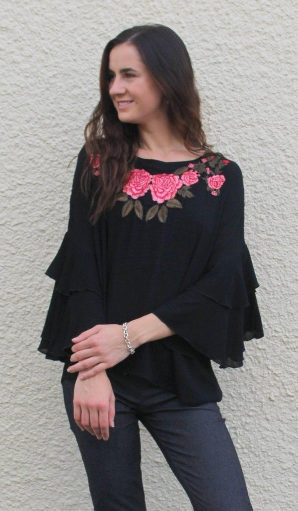 4e19c766811 Embroidered Layered Bell Sleeve Top, Black | Best of Violet Skye ...