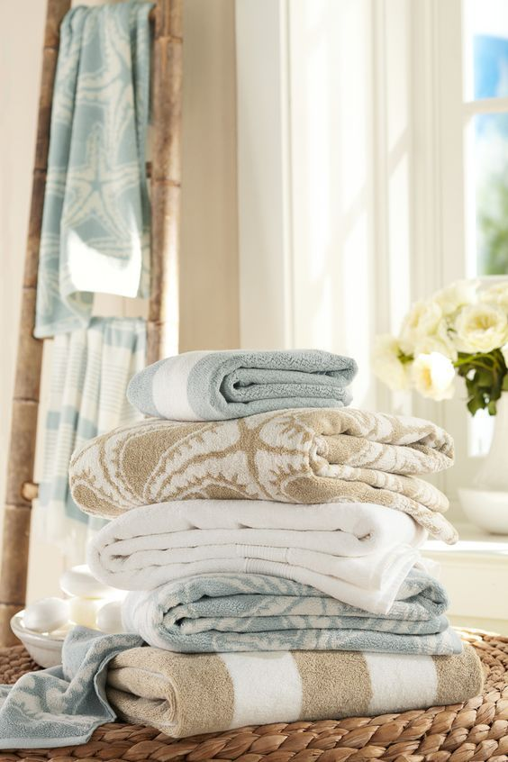 Sand and Sea Blue Towels, Mixed Colors and Prints l Beach Cottage – Beach Home l www.CarolinaDesig…
