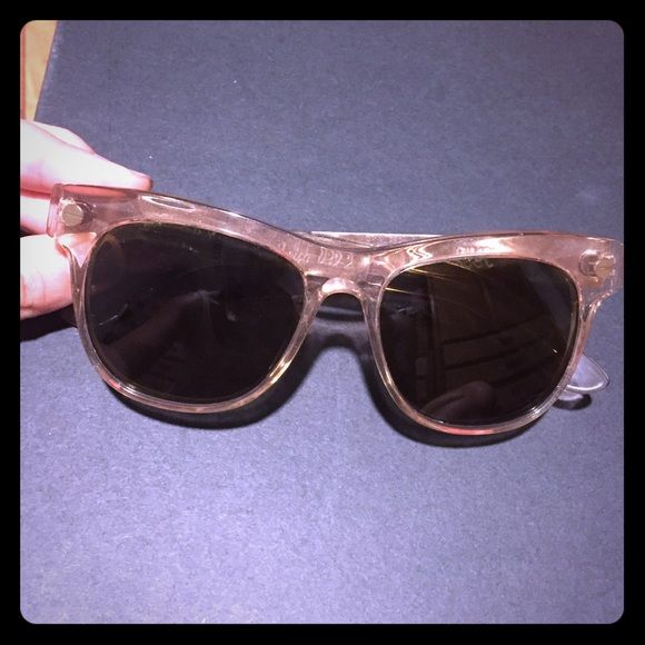 """Ellery et graz designer pink gold metal sunglasses Limited edition sold out Ellery et graz """"Keith"""" sunglasses in lucid fairy floss color and gold metal.  Made by Australian luxury designer Graz in a special collaboration with Kym Ellery.  Similar to Quay Australia or Tom Ford sunnies, but more high end.  Light pink translucent frames, with sturdy gold metal arms and screw detail at temples.  A few very light scratches on arms, but not noticeable when wearing. Worn once.  See Ellery website…"""