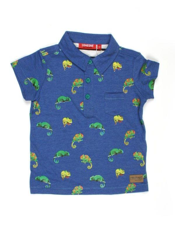 Someone Kids - Blauw poloshirt met kameleons