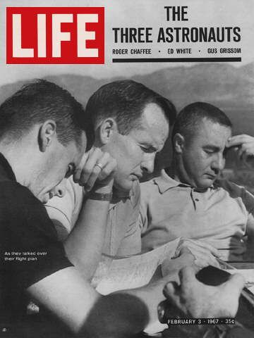"""The Three Astronauts"" Feb. 3, 1967.  Crew of Apollo 1 (Gus Grissom, Ed White, and Roger Chaffee) who died in a fire during a pre-launch test at Cape Canaveral."