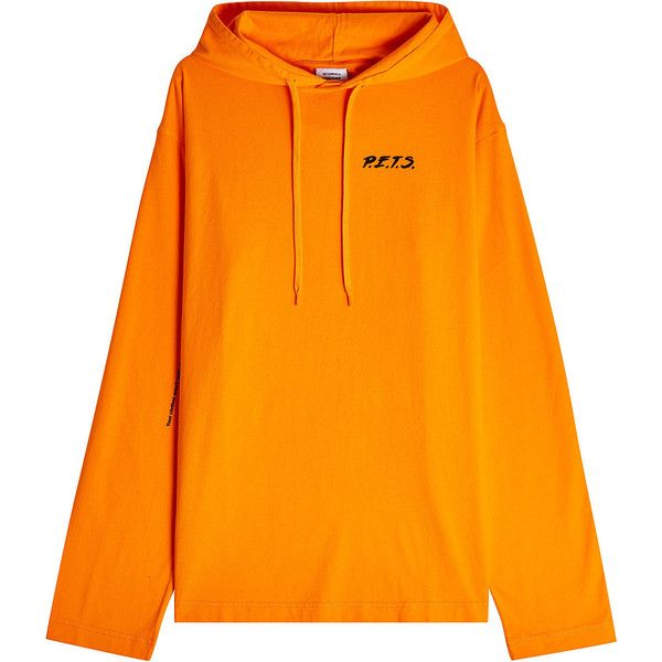 Vetements Printed Cotton Hoodie ($650) ❤ liked on Polyvore featuring tops, hoodies, orange, layered tops, hoodie top, orange hoodie, sweatshirt hoodies and orange hooded sweatshirt