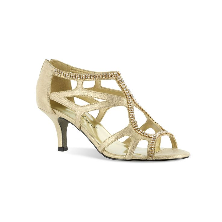Easy Street Flattery Women's Evening Dress Heels, Size: medium (7.5), Gold