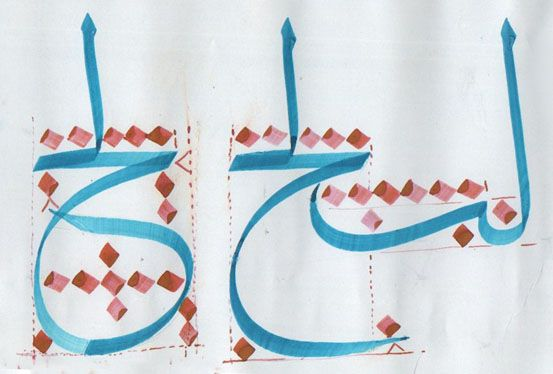 دراسة حروف الثلث واتصالاتها ... كتبها الخطاط - الحاج حازم فرحان