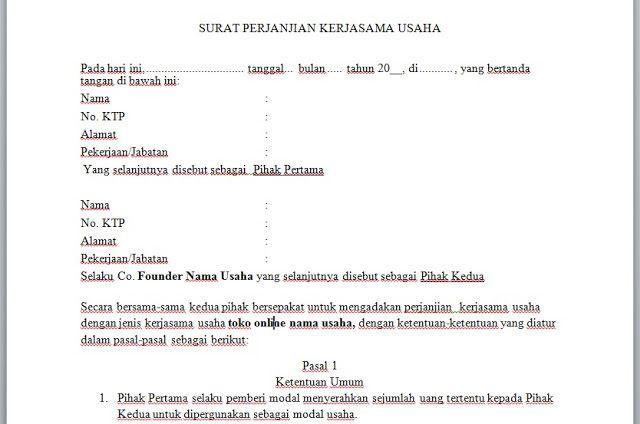 Contoh Surat Perjanjian Kerjasama Usaha Surat Pengusaha Aplikasi