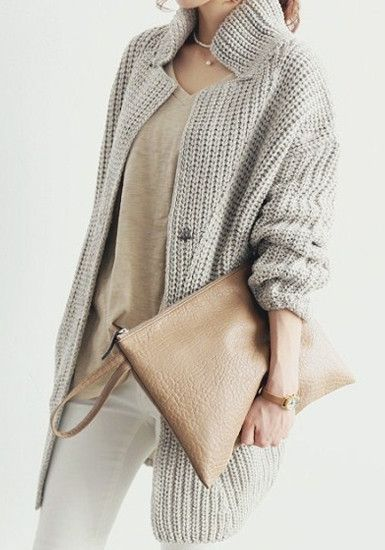 Grey Oversized Coat - Button Closure At Front
