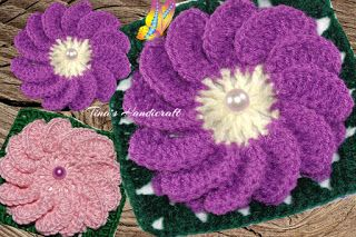 Tina's handicraft : video tutorial -  motif square with daisy No 32