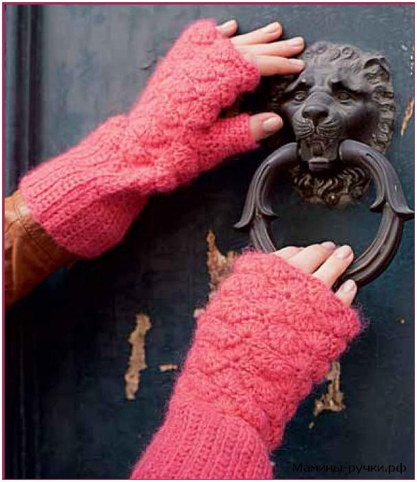 Вязаные крючком митенки (crochet mitts)