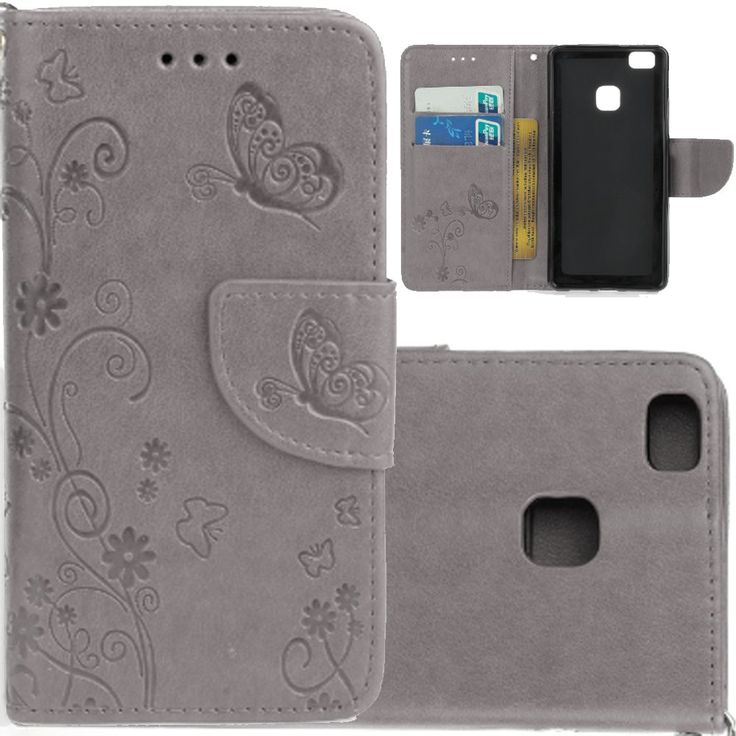 Leather Huawei P9 Lite Cases,Wallet Huawei P9 Lite Cover,Spigeotter Butterfly Printed Wallet Leather Case Cover with Lanyerd Flip Leather Case for Huawei P9 Lite Sliver -- Awesome products selected by Anna Churchill