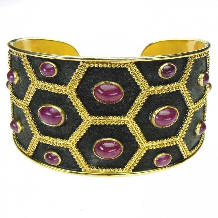 Ruby Nights Black Cuff Bracelet. See more Greek jewelry at www.athenas-treasures.com