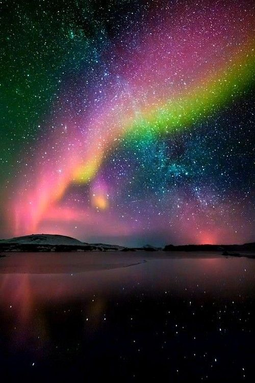 Aurora borealis sky night lights nature stars...