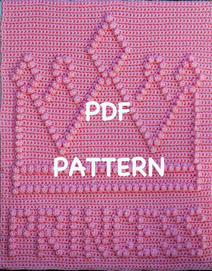 Princess Crown Baby Blanket  Pattern  Crochet Baby di TheBabyCrow, $4,00