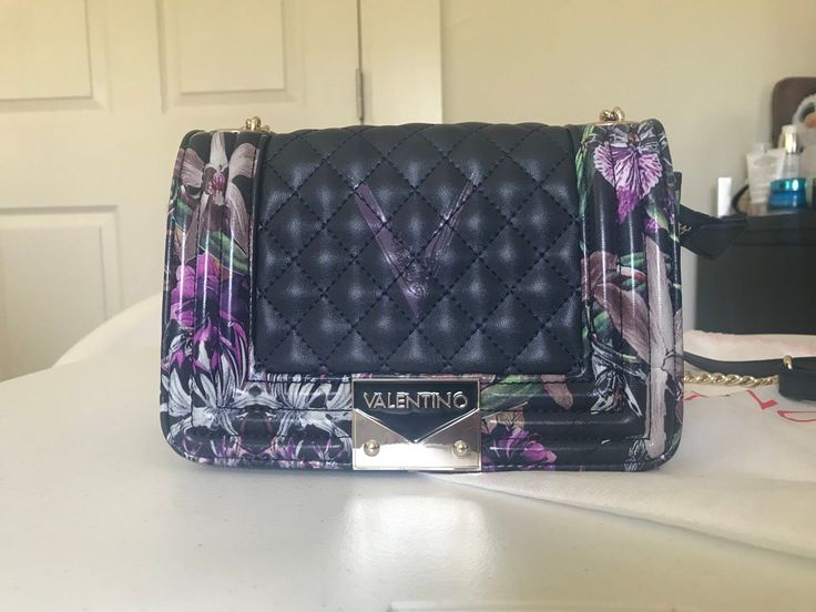 Valentino Crossbody Bag - New, Authentic, Limited-Edition (Floral, Navy Blue)