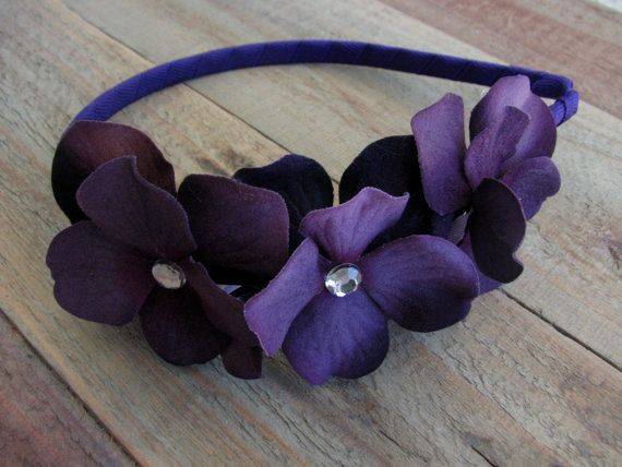 Purple Flower Girl Headband Hydrangea Floral Crown Head Bands Wedding Rhinestone Crystals Hair Piece Plum Bridal Party Accessories 1264200H