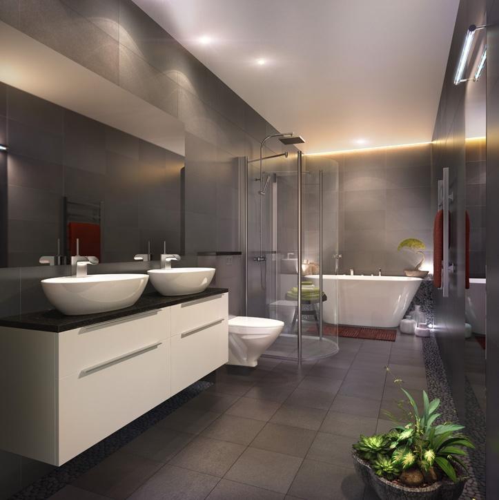 Lägenheterna i projekt Landmärkets lyxiga badrum