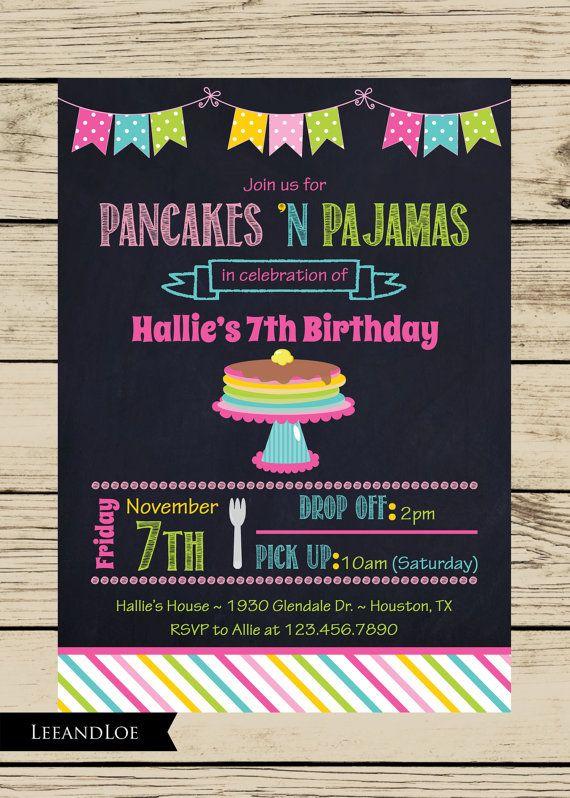 Pancakes and Pajamas Party Birthday Invitation-Slumber Party, Sleepover, Girls, Chalkboard, Printable on Etsy, $17.00