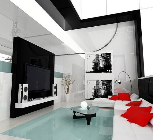 Desain Rumah minimali black and white with a little pop of red = ) by : http://www.wikirumah.com/
