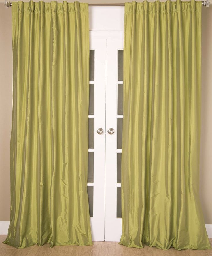 #4P550  Green Faux Silk Curtain (Use Discount Code) YOU PAY 1/2 DOWN