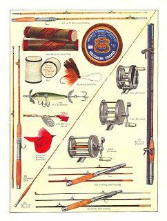 Free - Fishing Gear Printable Digital Collage Sheet