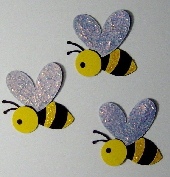 Glitter Bees set of 3...cute on a card