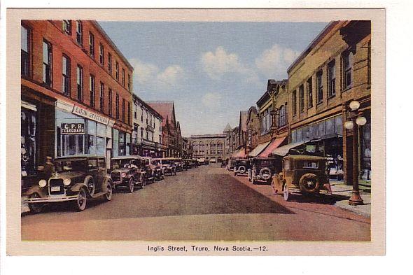 Nice View of Many 20's and 30's Cars on Inglis Street, Truro, Nova Scotia, PECO