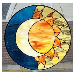 Sun & Moon Circle Stained Glass. Simple beautiful design