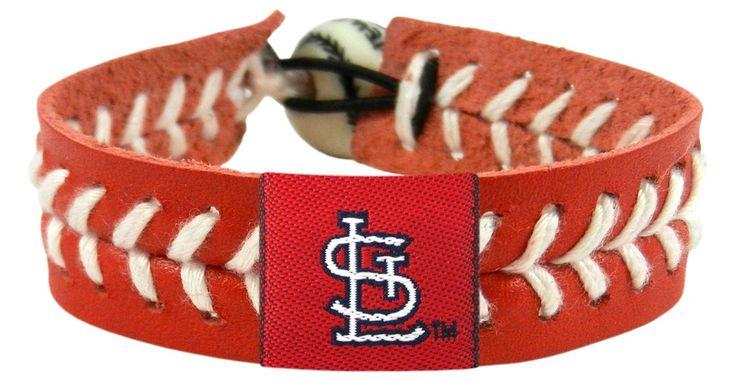 "St. Louis Cardinals Baseball Bracelet - Red Band, White Stiches ""StL"" Logo"""