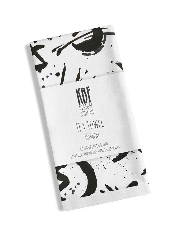 Tea Towel with modern black pattern by PeachyArtandTreasure