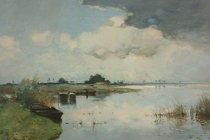 Willem Johannes Weissenbruch (1864 — 1941, Dutch) Lake View. watercolor on paper. 36.7 x 55.3 cm.