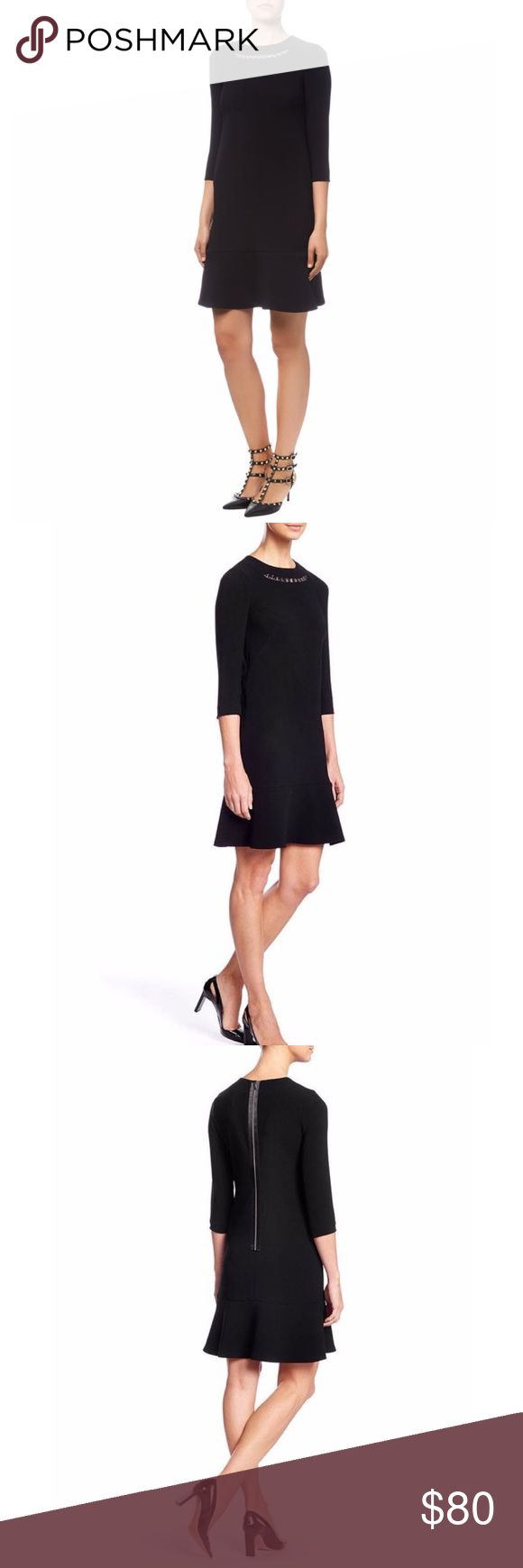 Escada Dejanina Black Dress Escada Dejanina Black Dress.  Hardware Necklace attached. MIDI Dress with bottom tulip silhouette.  NWOT.  Size 38 euro. Escada Dresses Midi
