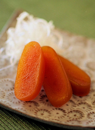 Karasumi, Dried and Salted Mullet Roe (Bottarga) -- Thinly Sliced Karasumi is known as High Priced Delicacy (Japanese Food Chinmi), and the Perfect Snack for a Sake (Japanese Rice Wine) |自家製からすみ