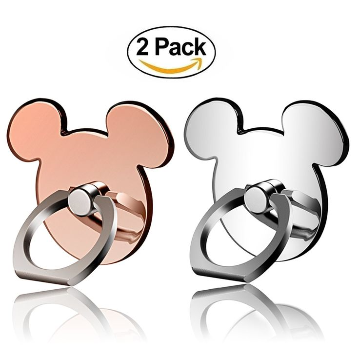 [2 Pack] Cartoon Phone Ring Stand Holder (ROSEGOLD&SILVER) 360 Rotation Cell Phone Grip for Apple Iphone X/8 7 Plus 6 6S 5 5S Samsung Galaxy Note, Tablet and Ipad pipigo