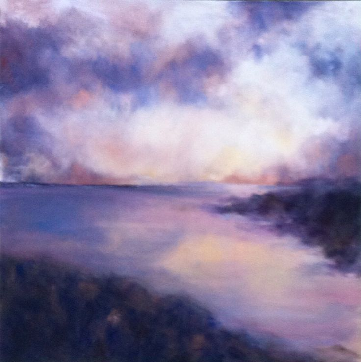 Moody skies over the estuary- oil painting by Devon artist Julie Dunster