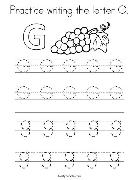 practice writing the letter g coloring page twisty noodle