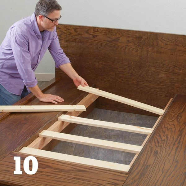 Make a platform bed from plywood (it's customizable to any size mattress)