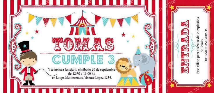 Kit Imprimible Circo Invitaciones Candybar Primer Año - $ 220,00 en MercadoLibre