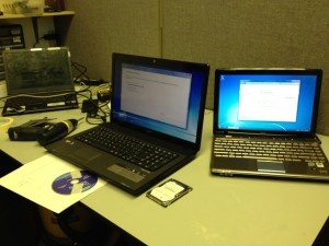 A diverse repair day on the same bench with Sony, Acer and HP