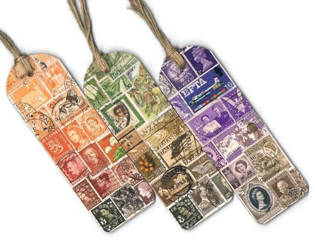 Custom Two-Tone Bookmark - Upcycled Postage Stamp Collage, Made to Order MailArt £6.00