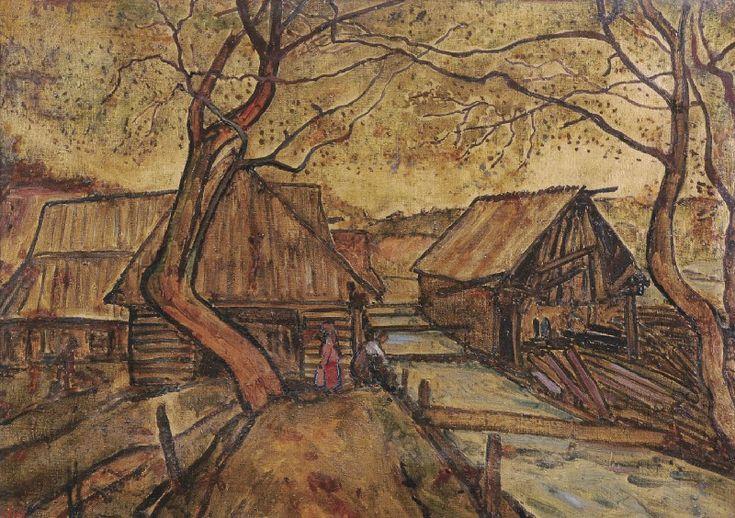 Obraz artysty malarza Emila Krchy  Młyn w Ząbsuchem, 1924 olej, farba złota, płótno, 50,5 x 71,5 cm