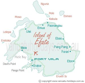 Efate Island Map. Home of Port Vila